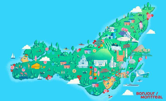 Carte Illustrée des activités sur l'île de Montréal.