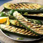 Courgettes grillées aux oignons verts