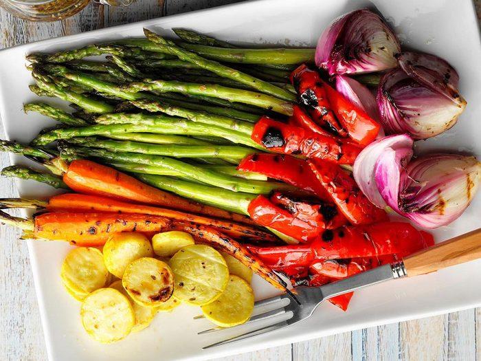 Recette de légumes grillés au barbecue.
