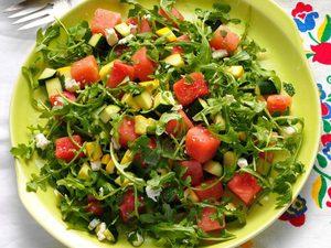 Salade de courges d'été et de melon d'eau
