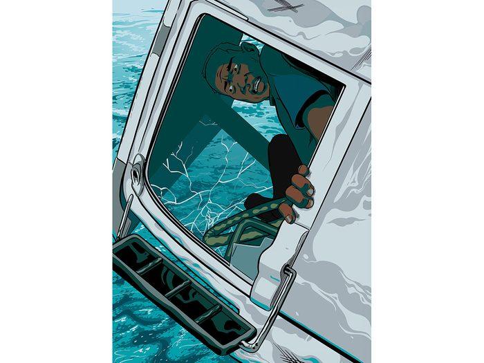 Témoignage: la cabine du camion menaçait de lâcher avant le sauvetage.