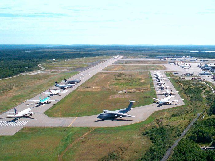L'aéroport de Gander lors des attentats du World Trade Center le 11 septembre 2001.