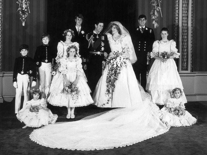 Les demoiselles d'honneur lors du mariage de la princesse Diana et du prince Charles.
