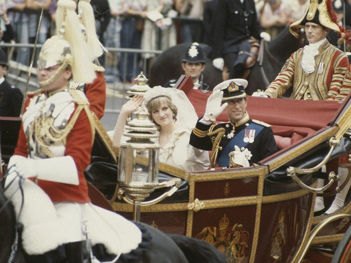 Le repas de noces pour le mariage de la princesse Diana et du prince Charles.