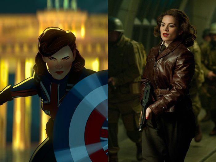 Scarlett Johansson dans Black Widow et Peggy Carter.