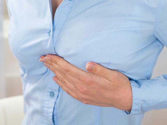 L'endolorissement des seins et des mamelons, considéré comme un symptôme secondaire de l'ovulation.