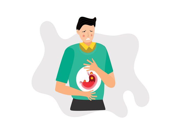 Le stress peut provoquer des brûlures d'estomac.