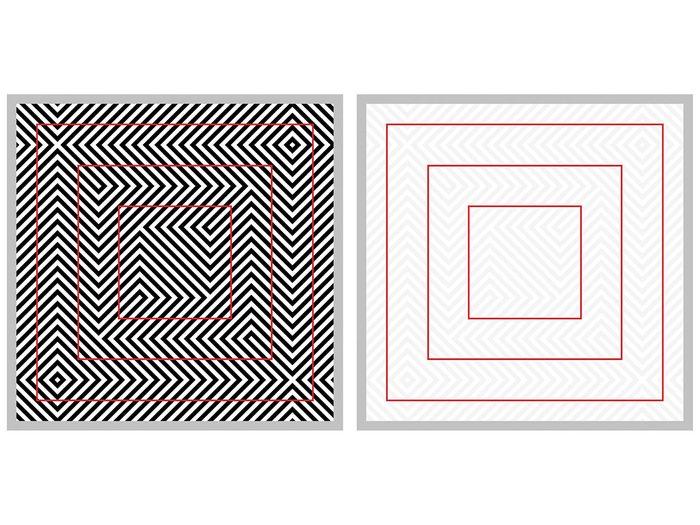 L'illusion d'optique des carrés loufoques.