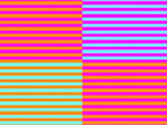L'illusion d'optique des différentes couleurs.