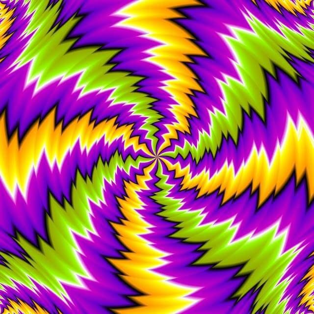 L'illusion d'optique des couleurs tournantes.
