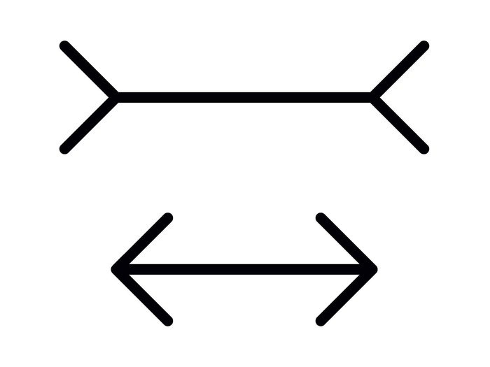 L'illusion d'optique de Muller-Lyer.