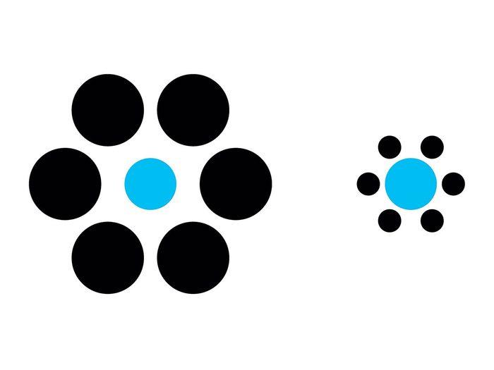 L'illusion d'optique des points bleus.