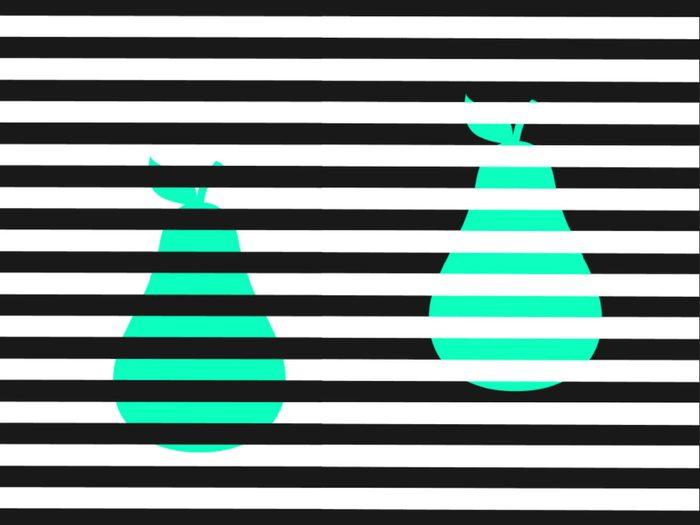 L'illusion d'optique de la paire de poires.
