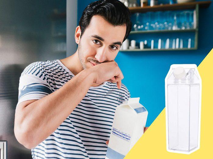 Soyez attentif aux contenants dans lesquels on boit lors du nettoyage du frigo.