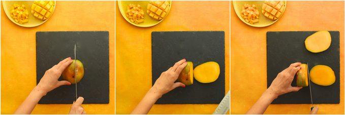 Comment couper une mangue: attention au noyau.
