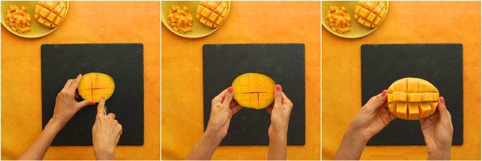 Comment couper une mangue: retirer les cubes.