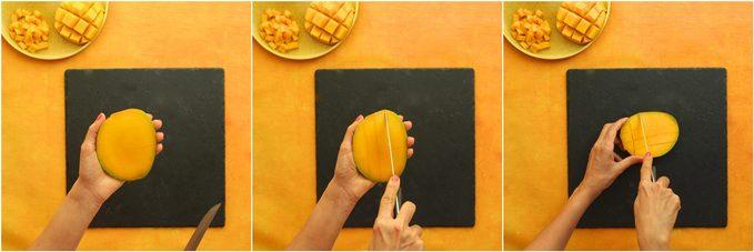 Comment couper une mangue: faire des coupures de hérisson.
