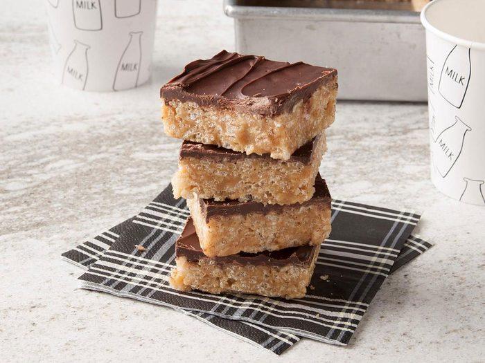 Recette Rice Krispies Carres Barre Collation Chocolat Chocolat Beurre Arachide