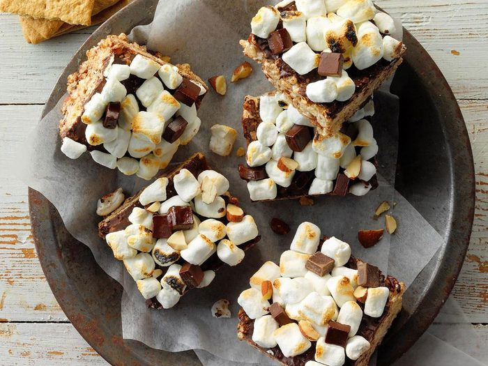 Recette Rice Krispies Carres Barre Collation Chocolat Guimauve Rocky