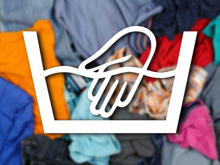 Reconnaître le lavage à la main parmi les symboles de lavage.