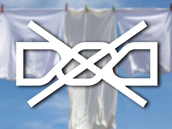 Reconnaître signe «Ne pas essorer» parmi les symboles de lavage.