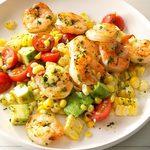 Salade de maïs au pesto et aux crevettes